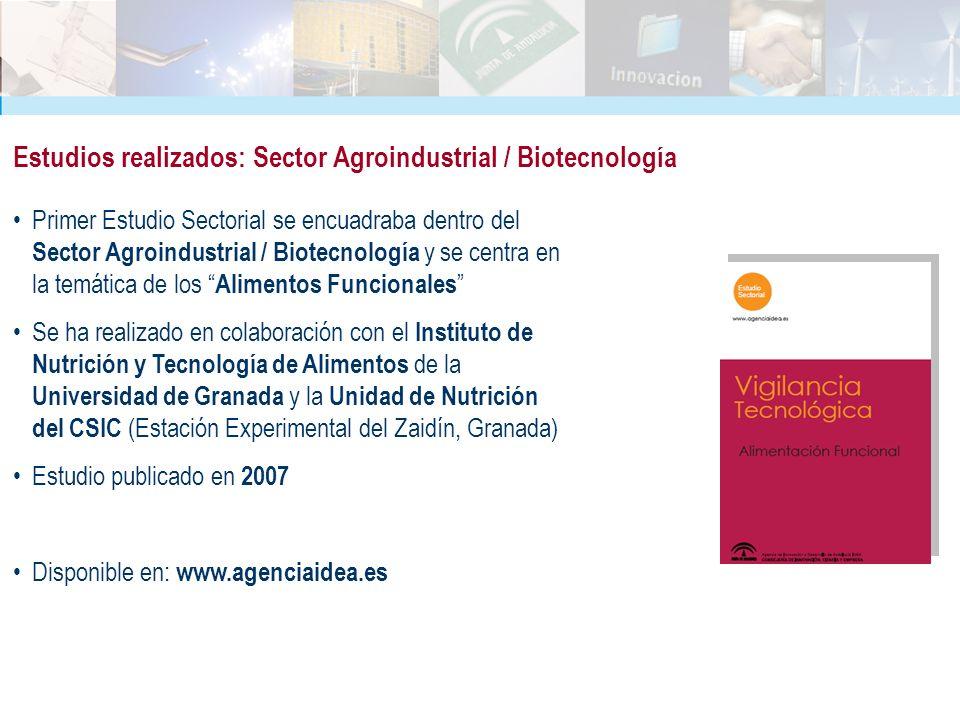 Primer Estudio Sectorial se encuadraba dentro del Sector Agroindustrial / Biotecnología y se centra en la temática de los Alimentos Funcionales Se ha