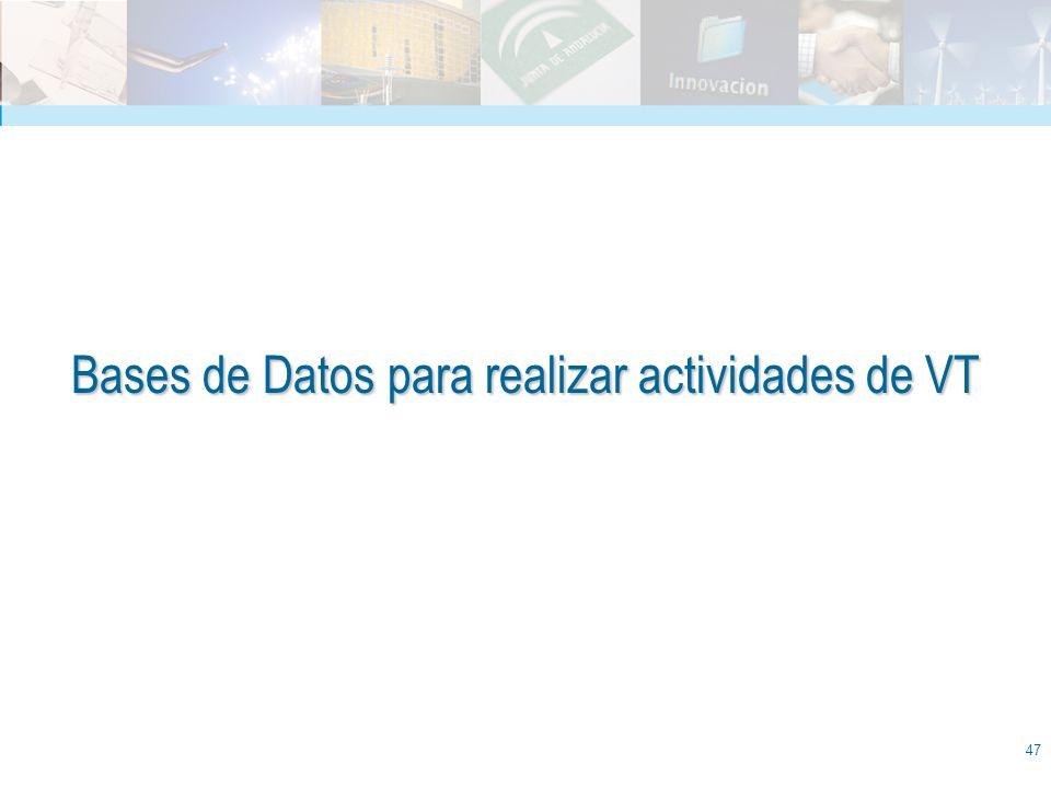 47 Bases de Datos para realizar actividades de VT