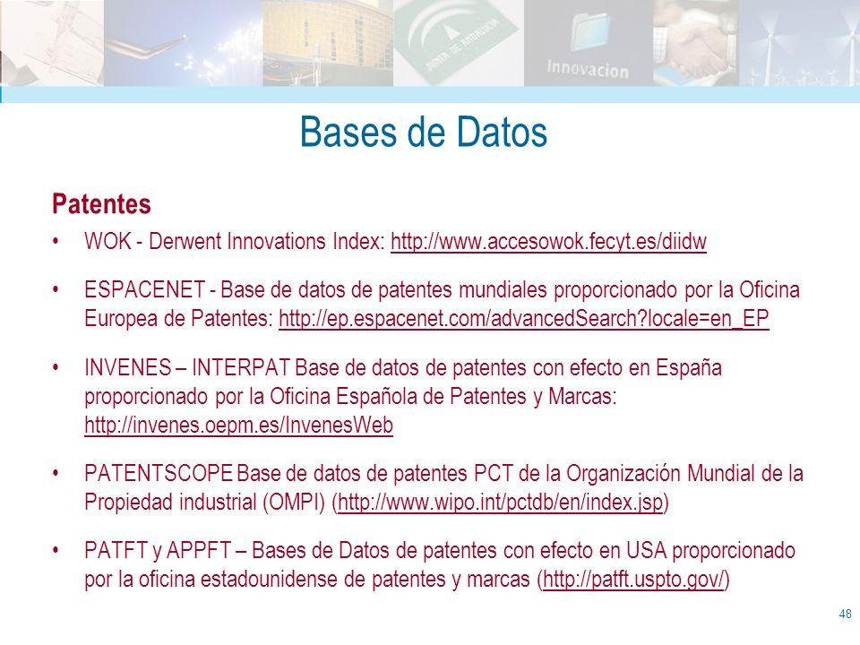 Bases de Datos Patentes WOK - Derwent Innovations Index: http://www.accesowok.fecyt.es/diidw ESPACENET - Base de datos de patentes mundiales proporcio