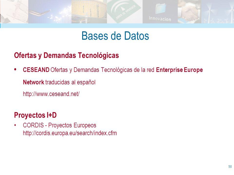 Bases de Datos Ofertas y Demandas Tecnológicas CESEAND Ofertas y Demandas Tecnológicas de la red Enterprise Europe Network traducidas al español http: