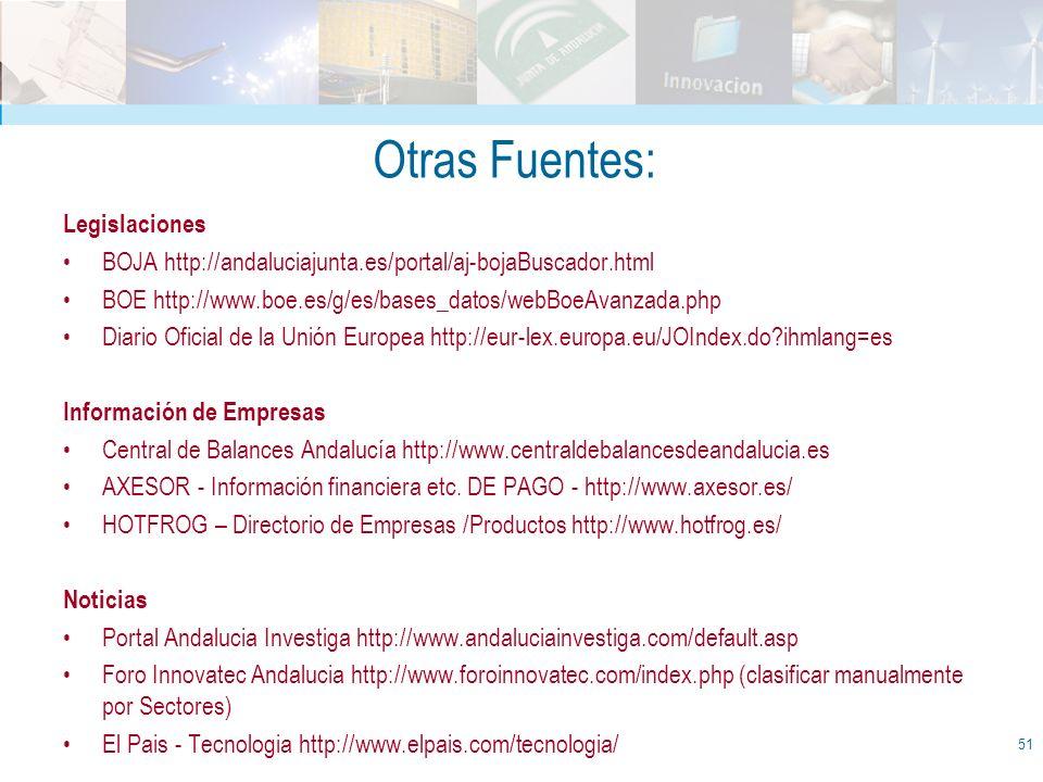 Otras Fuentes: Legislaciones BOJA http://andaluciajunta.es/portal/aj-bojaBuscador.html BOE http://www.boe.es/g/es/bases_datos/webBoeAvanzada.php Diari
