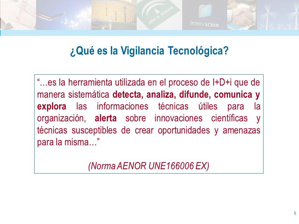 7 La Vigilancia Tecnológica esel conjunto de metodologías, procedimientos y herramientas para REUNIR, ANALIZAR y DISEMINAR datos que permite obtener, de manera sistemática y organizada, información relevante sobre el ambiente externo de la organización, para la toma de decisiones y la orientación táctica y estratégica, por medios éticos.La Vigilancia Tecnológica es el conjunto de metodologías, procedimientos y herramientas para REUNIR, ANALIZAR y DISEMINAR datos que permite obtener, de manera sistemática y organizada, información relevante sobre el ambiente externo de la organización, para la toma de decisiones y la orientación táctica y estratégica, por medios éticos.