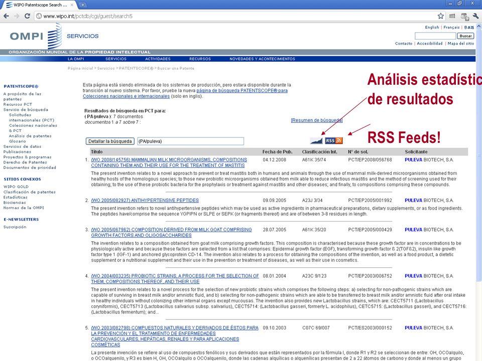 Análisis estadístico de resultados RSS Feeds!