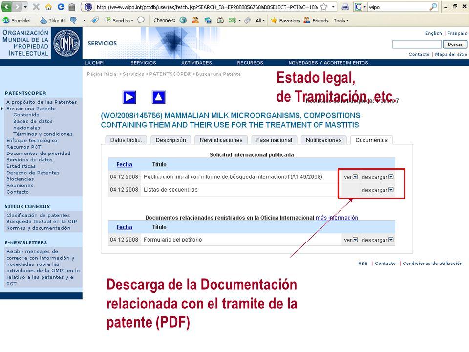 Estado legal, de Tramitación, etc. Descarga de la Documentación relacionada con el tramite de la patente (PDF)