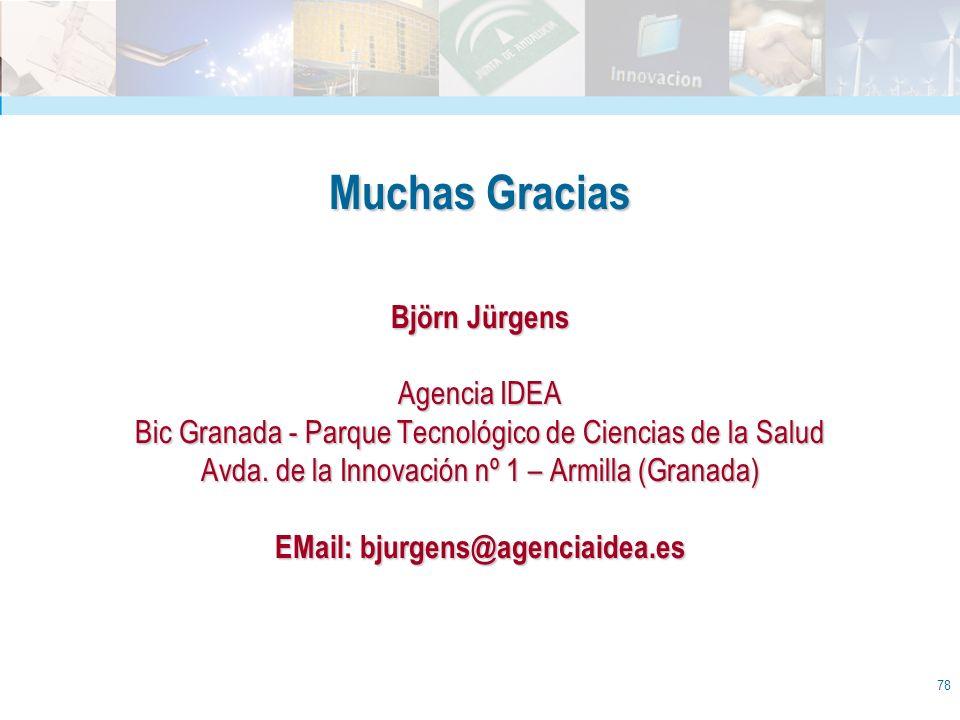 78 Muchas Gracias Björn Jürgens Agencia IDEA Bic Granada - Parque Tecnológico de Ciencias de la Salud Avda. de la Innovación nº 1 – Armilla (Granada)