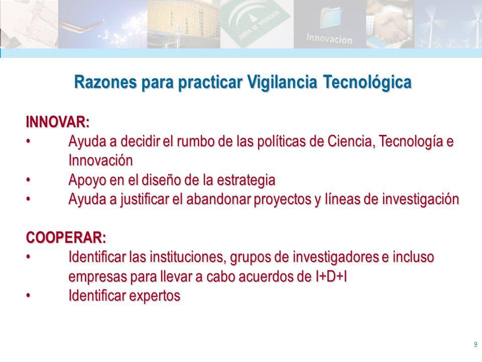 9 Razones para practicar Vigilancia Tecnológica INNOVAR: Ayuda a decidir el rumbo de las políticas de Ciencia, Tecnología e InnovaciónAyuda a decidir