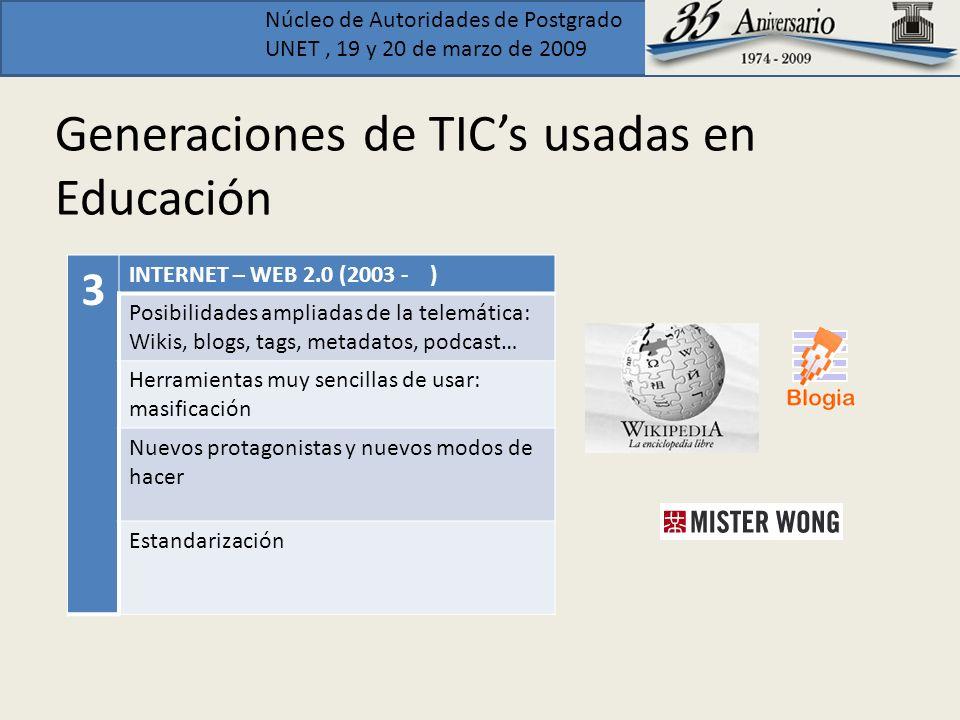 Núcleo de Autoridades de Postgrado UNET, 19 y 20 de marzo de 2009 Generaciones de TICs usadas en Educación 3 INTERNET – WEB 2.0 (2003 - ) Posibilidade