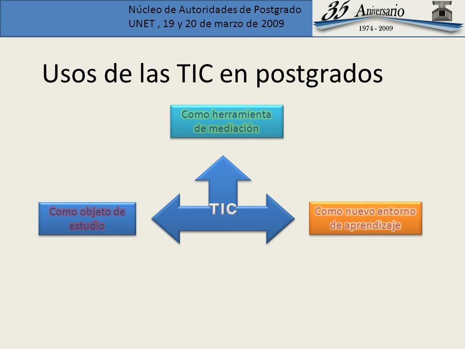Núcleo de Autoridades de Postgrado UNET, 19 y 20 de marzo de 2009 Usos de las TIC en postgrados