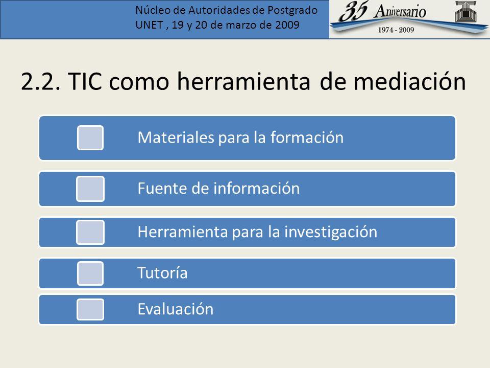 Núcleo de Autoridades de Postgrado UNET, 19 y 20 de marzo de 2009 2.2. TIC como herramienta de mediación Materiales para la formación Fuente de inform