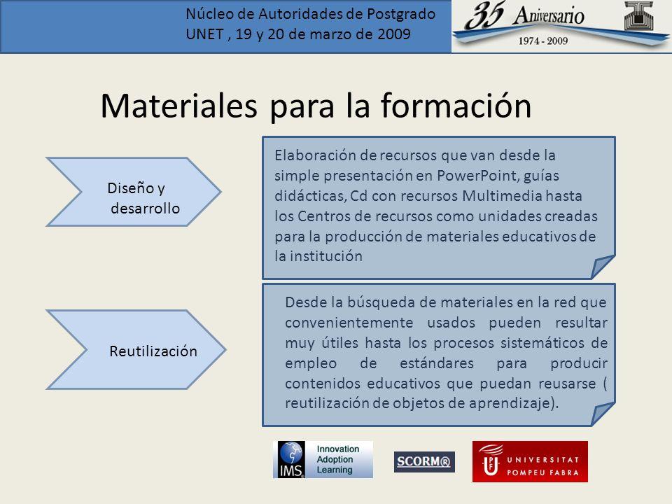 Núcleo de Autoridades de Postgrado UNET, 19 y 20 de marzo de 2009 Materiales para la formación Diseño y desarrollo Elaboración de recursos que van des