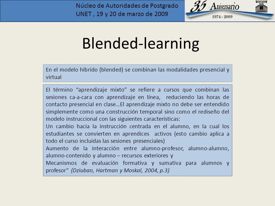 Núcleo de Autoridades de Postgrado UNET, 19 y 20 de marzo de 2009 Blended-learning El término aprendizaje mixto se refiere a cursos que combinan las s