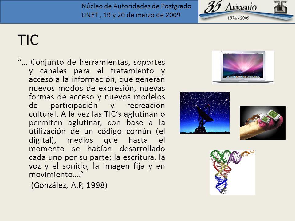 Núcleo de Autoridades de Postgrado UNET, 19 y 20 de marzo de 2009 TIC … Conjunto de herramientas, soportes y canales para el tratamiento y acceso a la