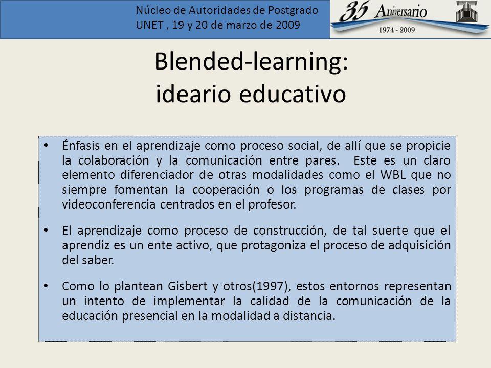 Núcleo de Autoridades de Postgrado UNET, 19 y 20 de marzo de 2009 Blended-learning: ideario educativo Énfasis en el aprendizaje como proceso social, d