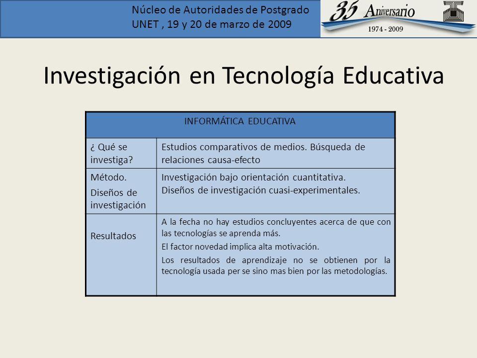 Núcleo de Autoridades de Postgrado UNET, 19 y 20 de marzo de 2009 Investigación en Tecnología Educativa INFORMÁTICA EDUCATIVA ¿ Qué se investiga? Estu