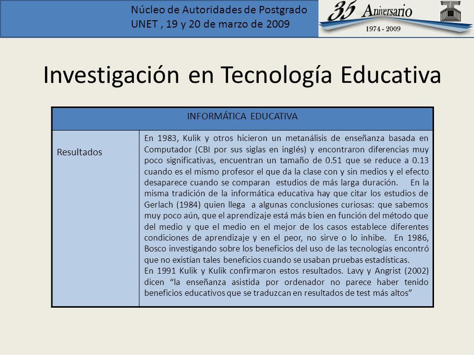 Núcleo de Autoridades de Postgrado UNET, 19 y 20 de marzo de 2009 Investigación en Tecnología Educativa INFORMÁTICA EDUCATIVA Resultados En 1983, Kuli