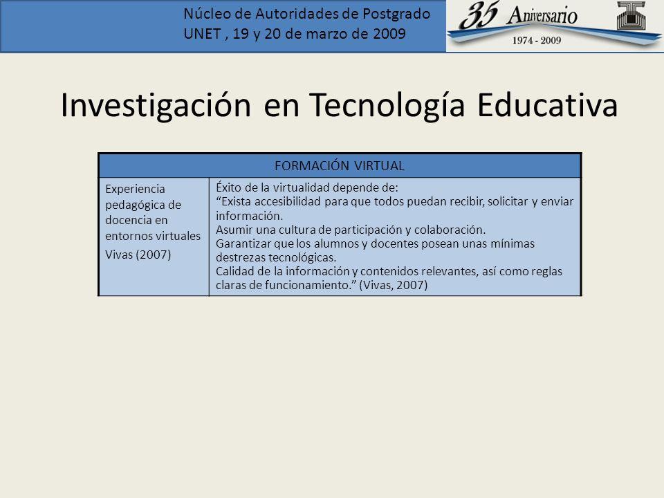 Núcleo de Autoridades de Postgrado UNET, 19 y 20 de marzo de 2009 Investigación en Tecnología Educativa FORMACIÓN VIRTUAL Experiencia pedagógica de do