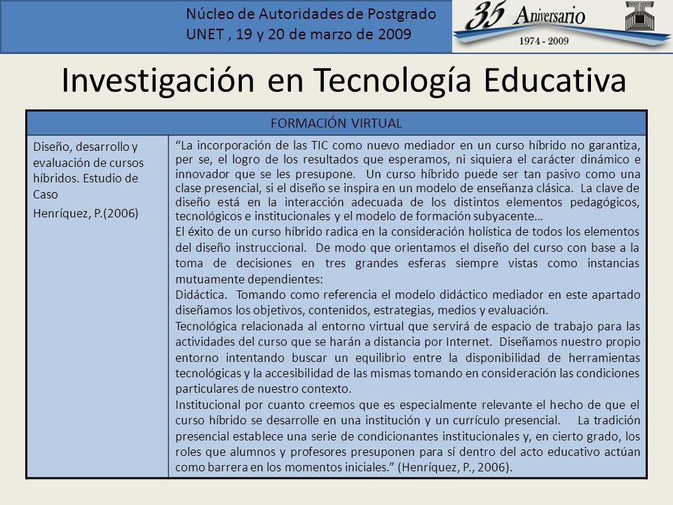 Núcleo de Autoridades de Postgrado UNET, 19 y 20 de marzo de 2009 Investigación en Tecnología Educativa FORMACIÓN VIRTUAL Diseño, desarrollo y evaluac