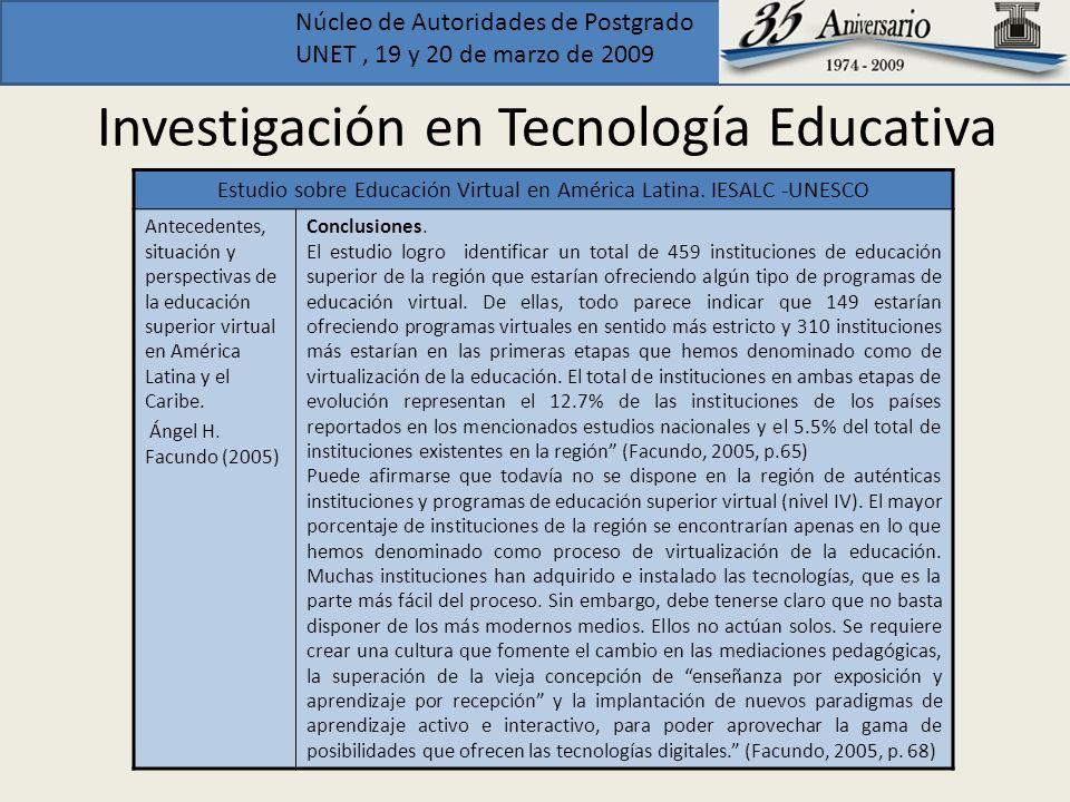 Núcleo de Autoridades de Postgrado UNET, 19 y 20 de marzo de 2009 Investigación en Tecnología Educativa Estudio sobre Educación Virtual en América Lat