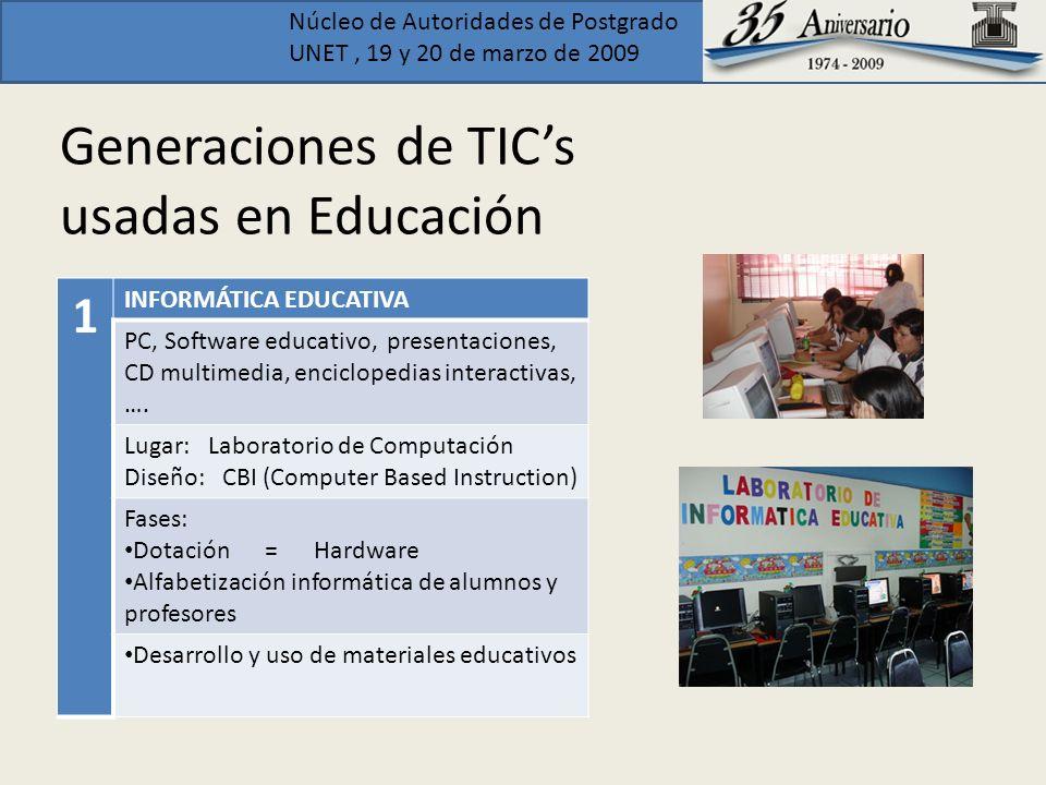 Núcleo de Autoridades de Postgrado UNET, 19 y 20 de marzo de 2009 Generaciones de TICs usadas en Educación 2 INTERNET – WEB 1.0 (1990 - 2002) Posibilidades de la telemática: Buscadores, herramientas de comunicación, publicación de contenidos estáticos, Audioconferencia, Videoconferencia, ….