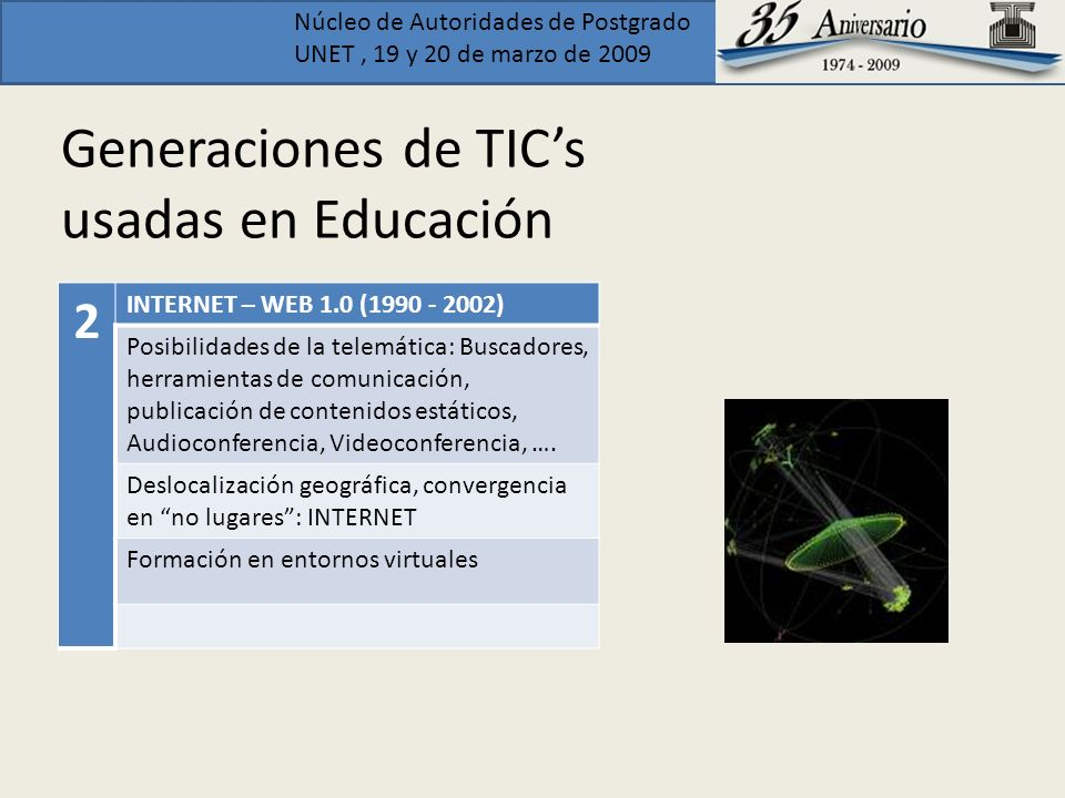 Núcleo de Autoridades de Postgrado UNET, 19 y 20 de marzo de 2009 E-learning E- learning is here defined as interactive learning in which the learning content is available online and provides automatic feedback to the students learning activities.