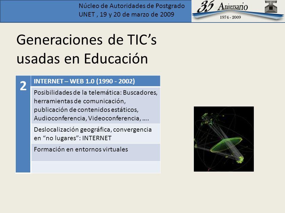 Núcleo de Autoridades de Postgrado UNET, 19 y 20 de marzo de 2009 Generaciones de TICs usadas en Educación 2 INTERNET – WEB 1.0 (1990 - 2002) Posibili