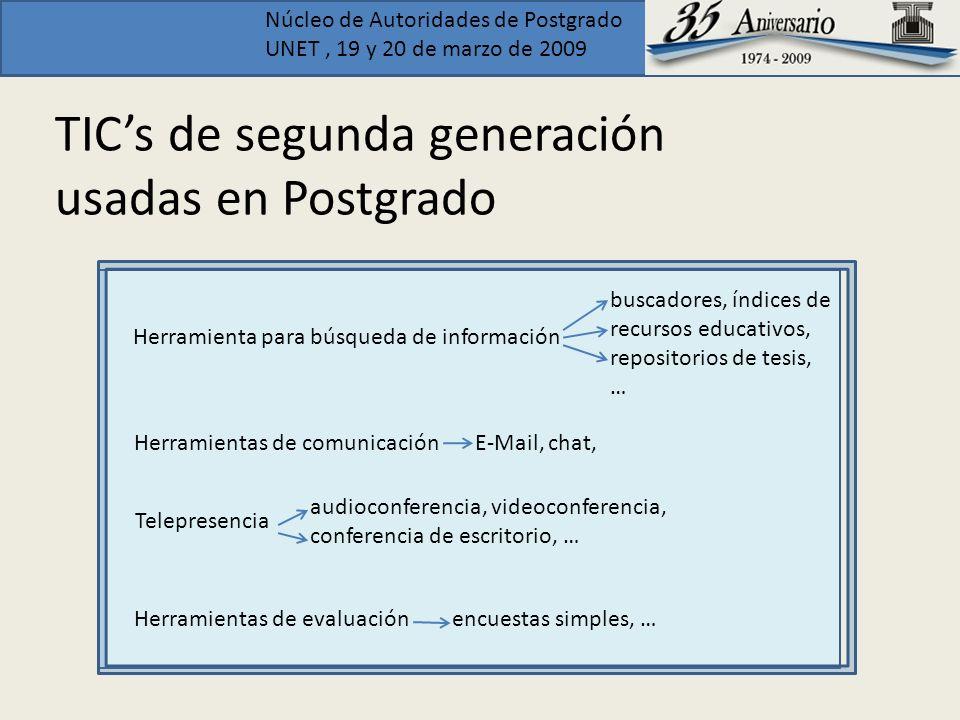 Núcleo de Autoridades de Postgrado UNET, 19 y 20 de marzo de 2009 TICs de segunda generación usadas en Postgrado + - E-Mail, chat, apuntes electrónicos, centros de recursos educativos en red, tutoría electrónica,…..