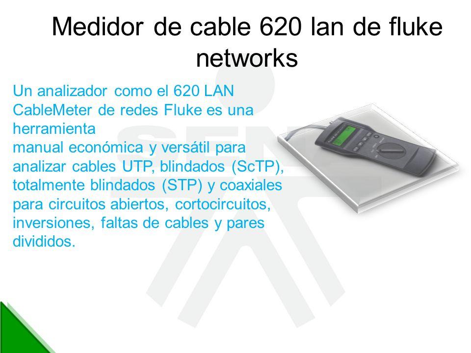 Medidor de cable 620 lan de fluke networks Un analizador como el 620 LAN CableMeter de redes Fluke es una herramienta manual económica y versátil para
