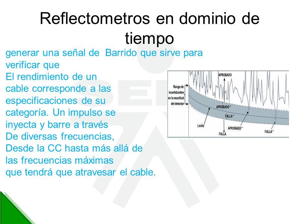 Reflectometros en dominio de tiempo generar una señal de Barrido que sirve para verificar que El rendimiento de un cable corresponde a las especificac