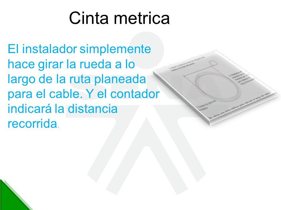 Cinta metrica El instalador simplemente hace girar la rueda a lo largo de la ruta planeada para el cable. Y el contador indicará la distancia recorrid