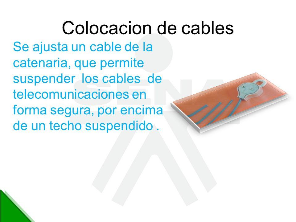 Colocacion de cables Se ajusta un cable de la catenaria, que permite suspender los cables de telecomunicaciones en forma segura, por encima de un tech