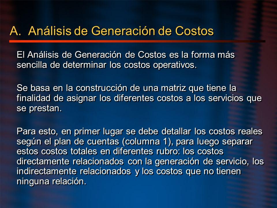 A. Análisis de Generación de Costos El Análisis de Generación de Costos es la forma más sencilla de determinar los costos operativos. Se basa en la co