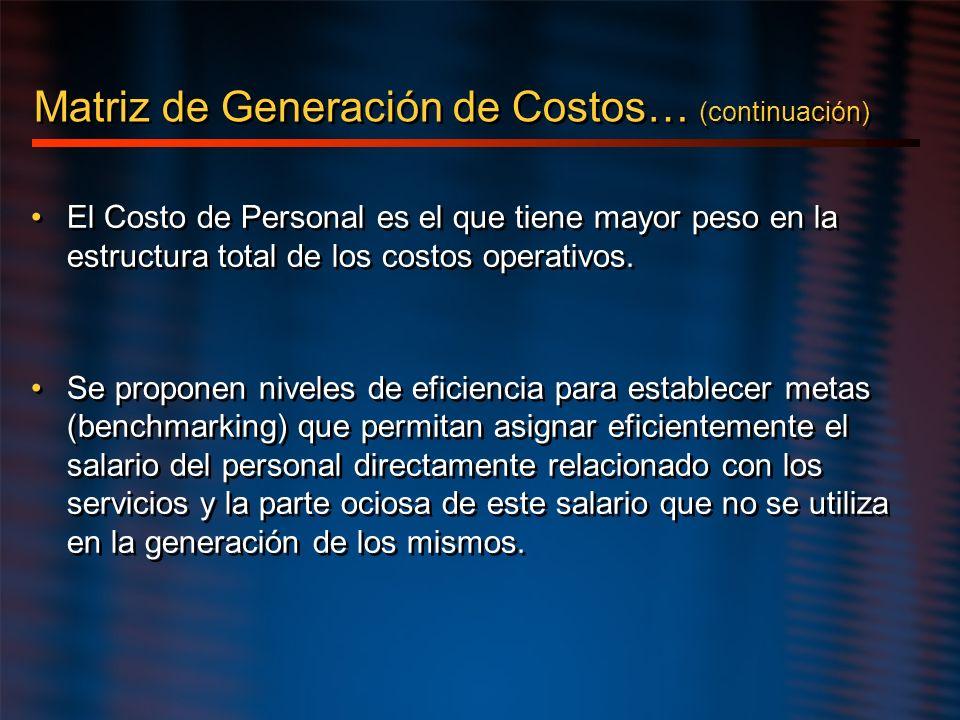 El Costo de Personal es el que tiene mayor peso en la estructura total de los costos operativos. Se proponen niveles de eficiencia para establecer met