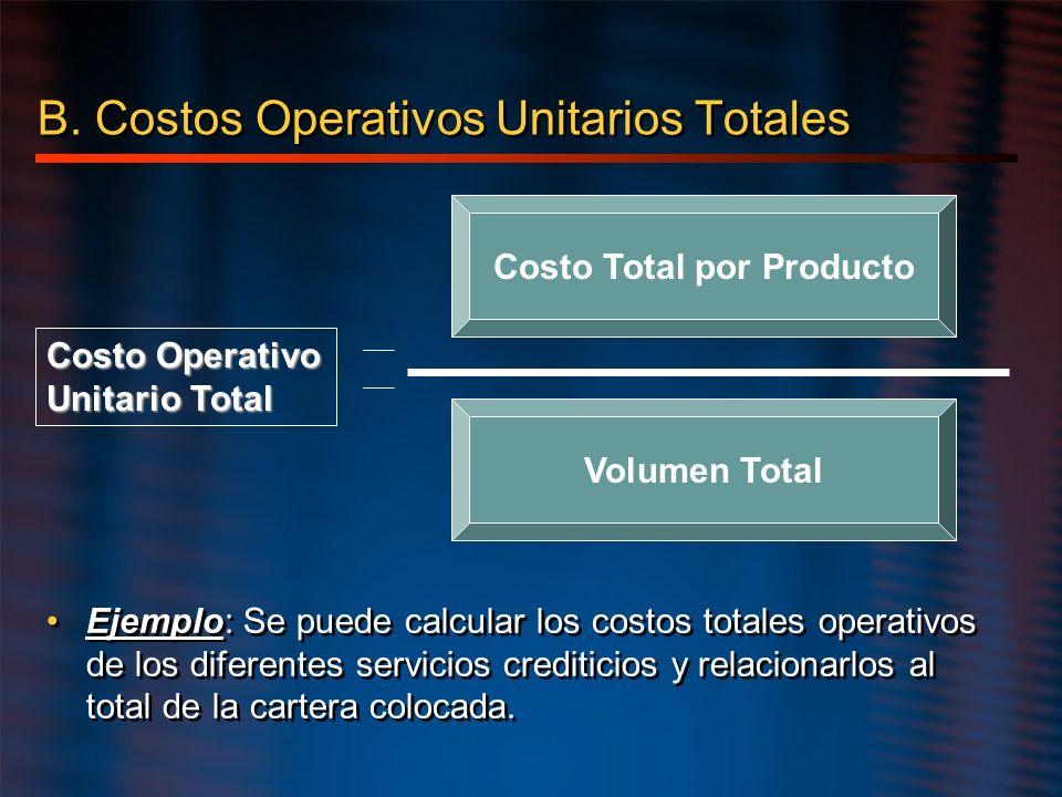 B. Costos Operativos Unitarios Totales Costo Total por Producto Volumen Total Costo Operativo Unitario Total Ejemplo: Se puede calcular los costos tot