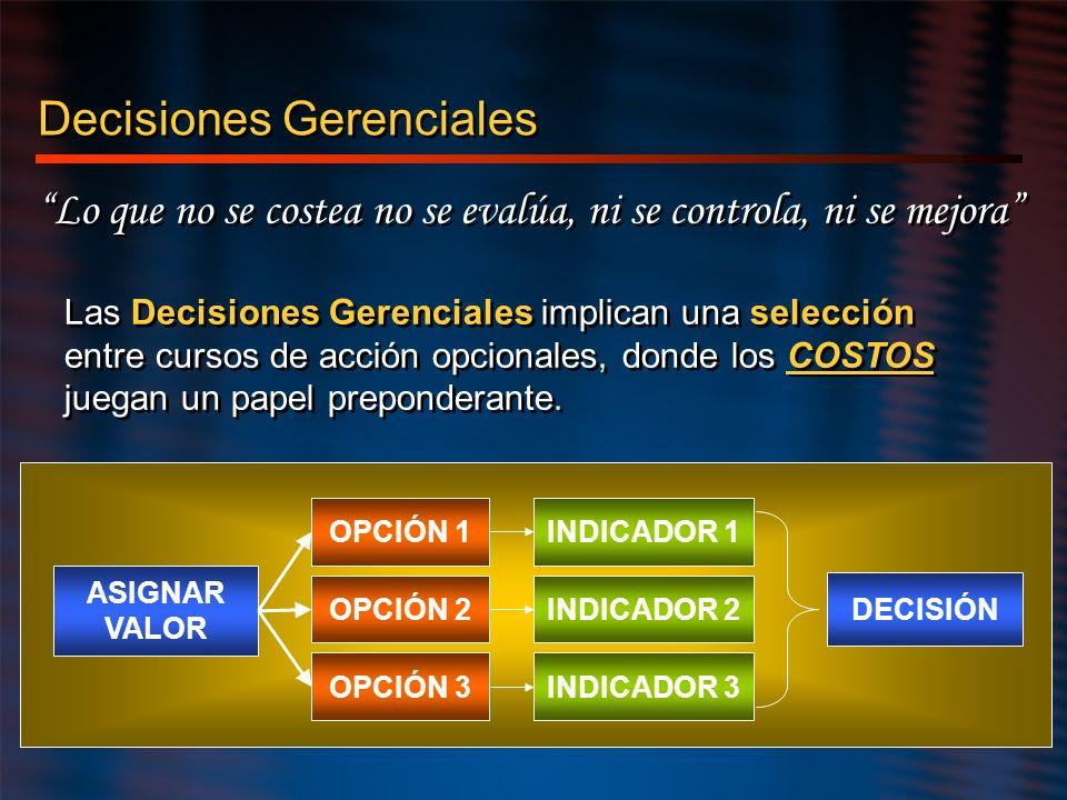 Decisiones Gerenciales Lo que no se costea no se evalúa, ni se controla, ni se mejora Las Decisiones Gerenciales implican una selección entre cursos d