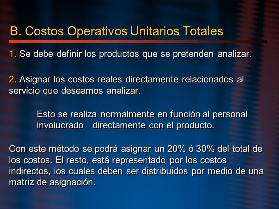 B. Costos Operativos Unitarios Totales 1. Se debe definir los productos que se pretenden analizar. 2. Asignar los costos reales directamente relaciona
