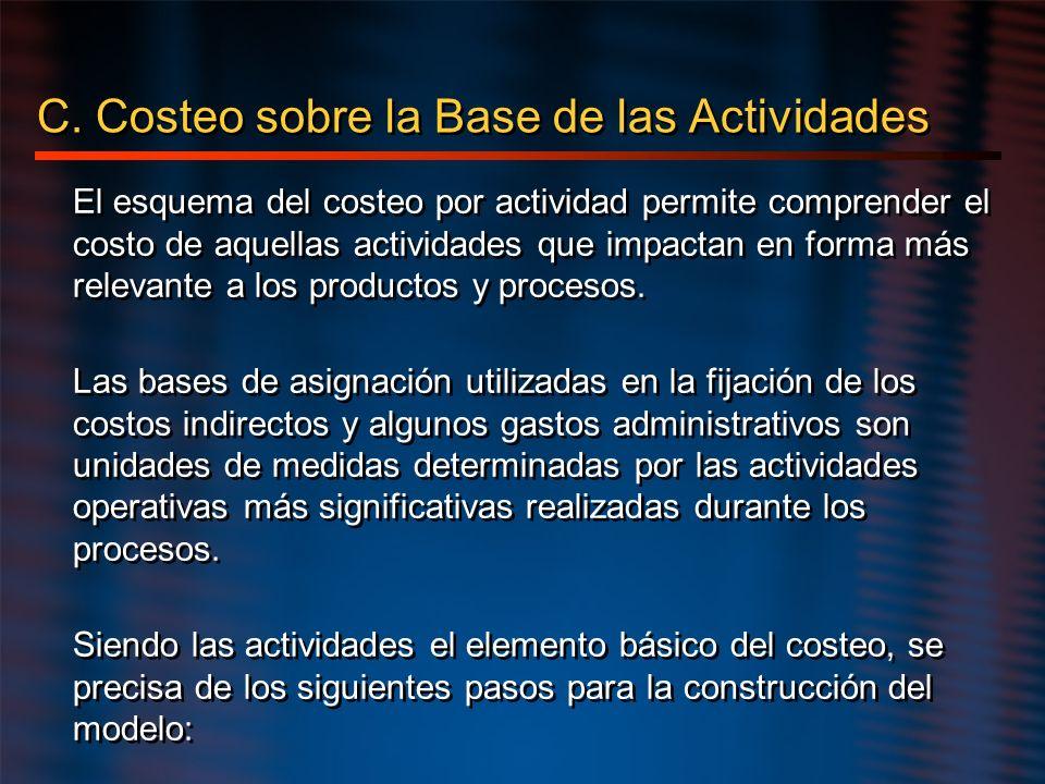 C. Costeo sobre la Base de las Actividades El esquema del costeo por actividad permite comprender el costo de aquellas actividades que impactan en for