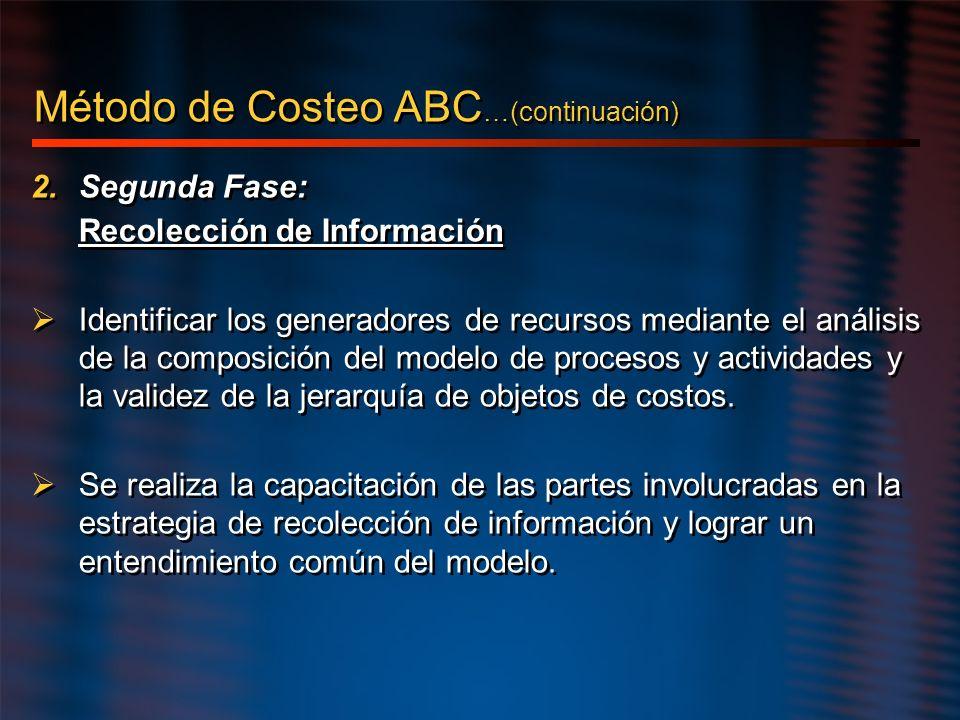 2.Segunda Fase: Recolección de Información Identificar los generadores de recursos mediante el análisis de la composición del modelo de procesos y act