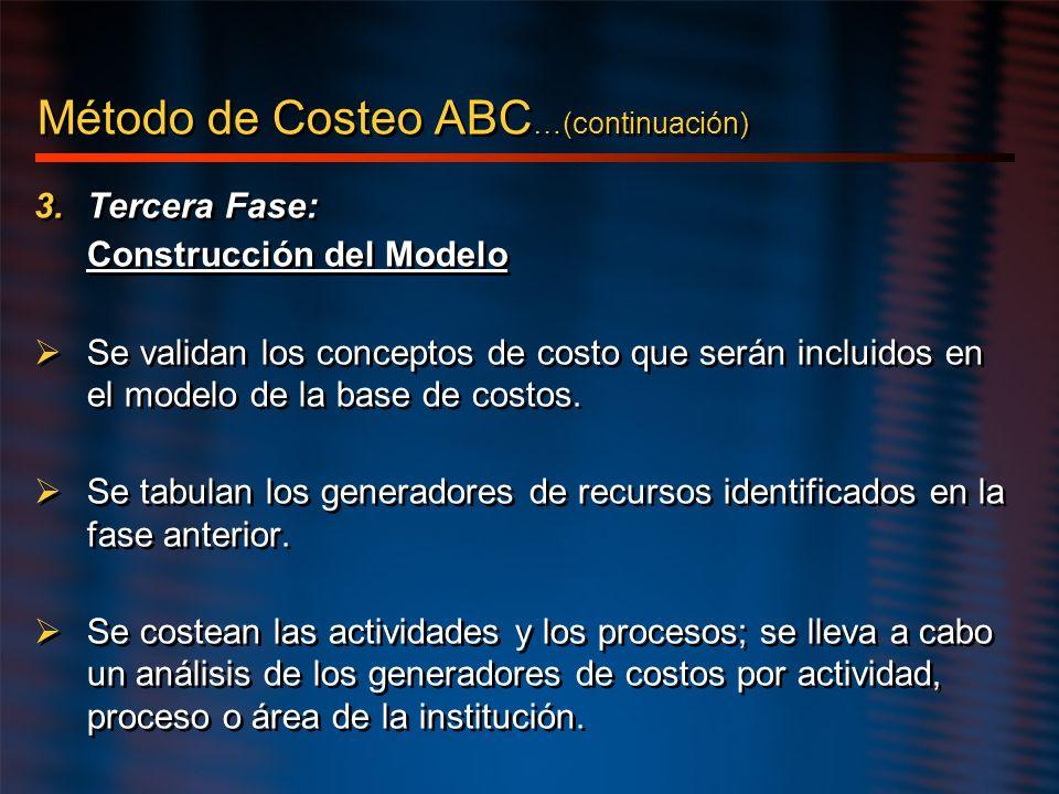 3.Tercera Fase: Construcción del Modelo Se validan los conceptos de costo que serán incluidos en el modelo de la base de costos. Se tabulan los genera