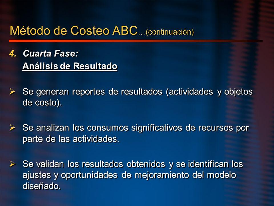 4.Cuarta Fase: Análisis de Resultado Se generan reportes de resultados (actividades y objetos de costo). Se analizan los consumos significativos de re