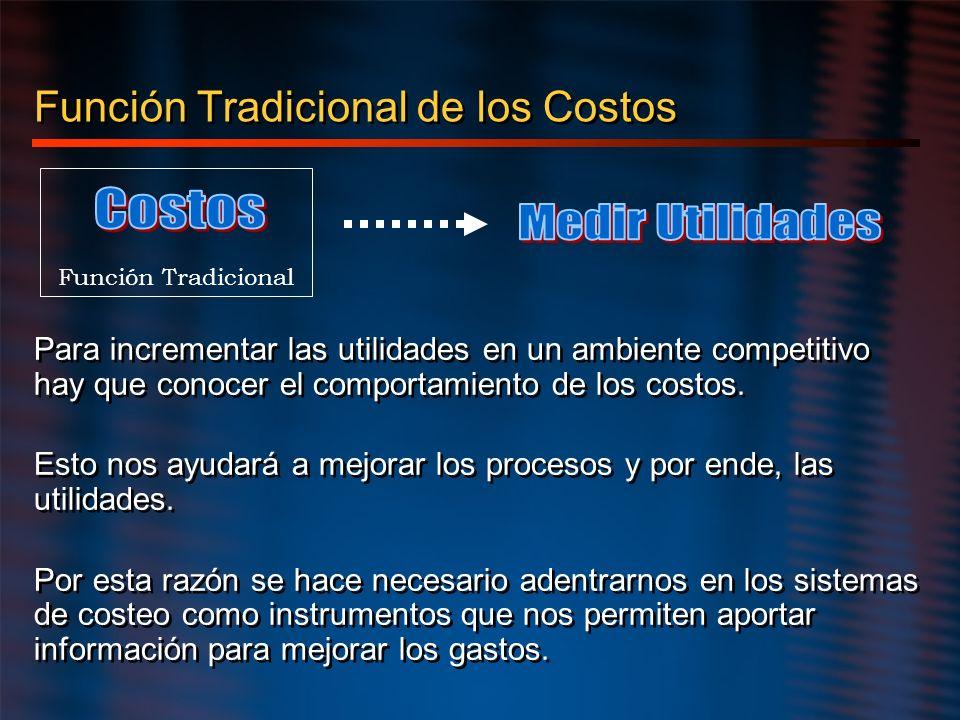 Función Tradicional de los Costos Para incrementar las utilidades en un ambiente competitivo hay que conocer el comportamiento de los costos. Esto nos