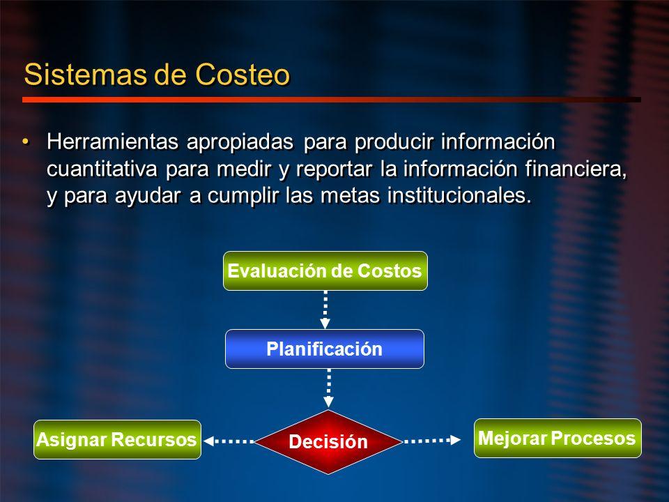 Sistemas de Costeo Herramientas apropiadas para producir información cuantitativa para medir y reportar la información financiera, y para ayudar a cum