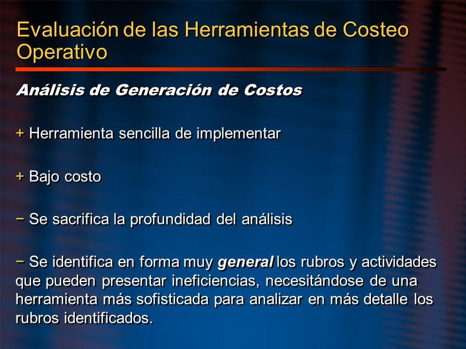 Evaluación de las Herramientas de Costeo Operativo Análisis de Generación de Costos + Herramienta sencilla de implementar + Bajo costo Se sacrifica la