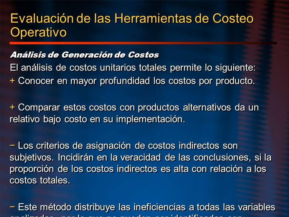 Evaluación de las Herramientas de Costeo Operativo Análisis de Generación de Costos El análisis de costos unitarios totales permite lo siguiente: + Co