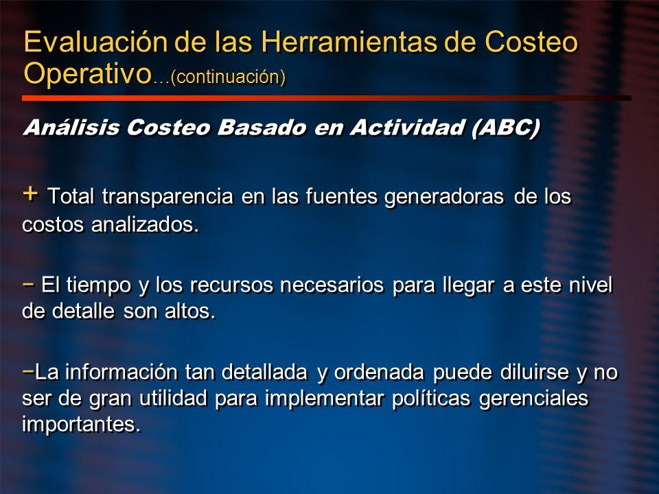Evaluación de las Herramientas de Costeo Operativo …(continuación) Análisis Costeo Basado en Actividad (ABC) + Total transparencia en las fuentes gene