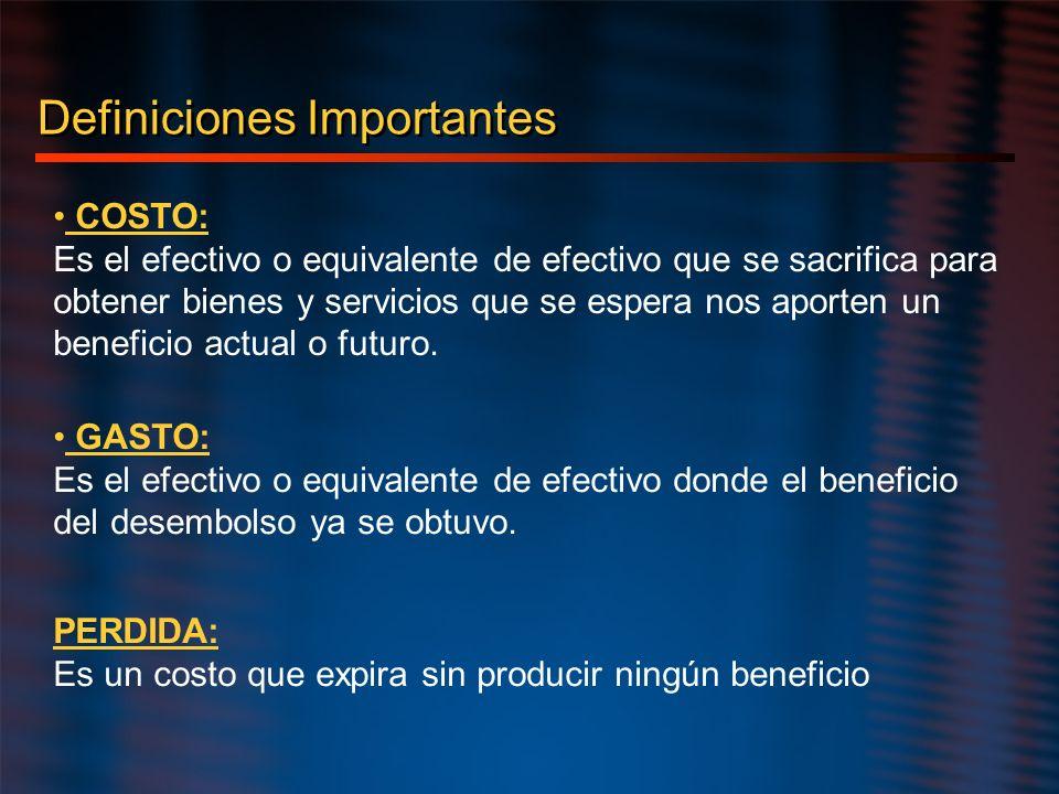 Definiciones Importantes COSTO: Es el efectivo o equivalente de efectivo que se sacrifica para obtener bienes y servicios que se espera nos aporten un