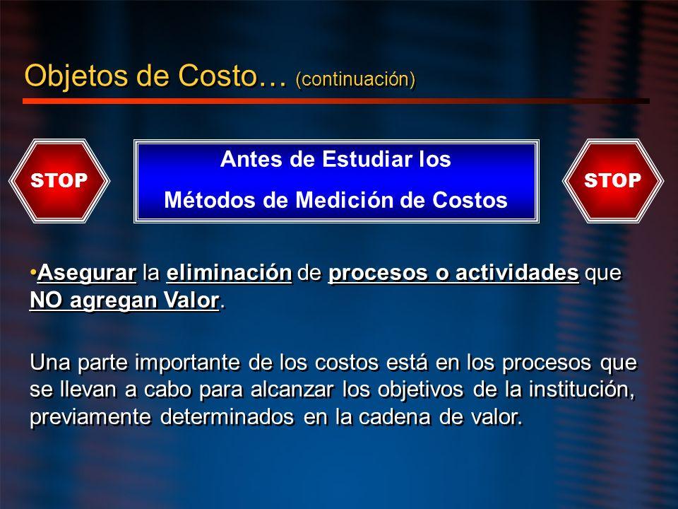 Objetos de Costo… (continuación) Asegurar la eliminación de procesos o actividades que NO agregan Valor. Una parte importante de los costos está en lo