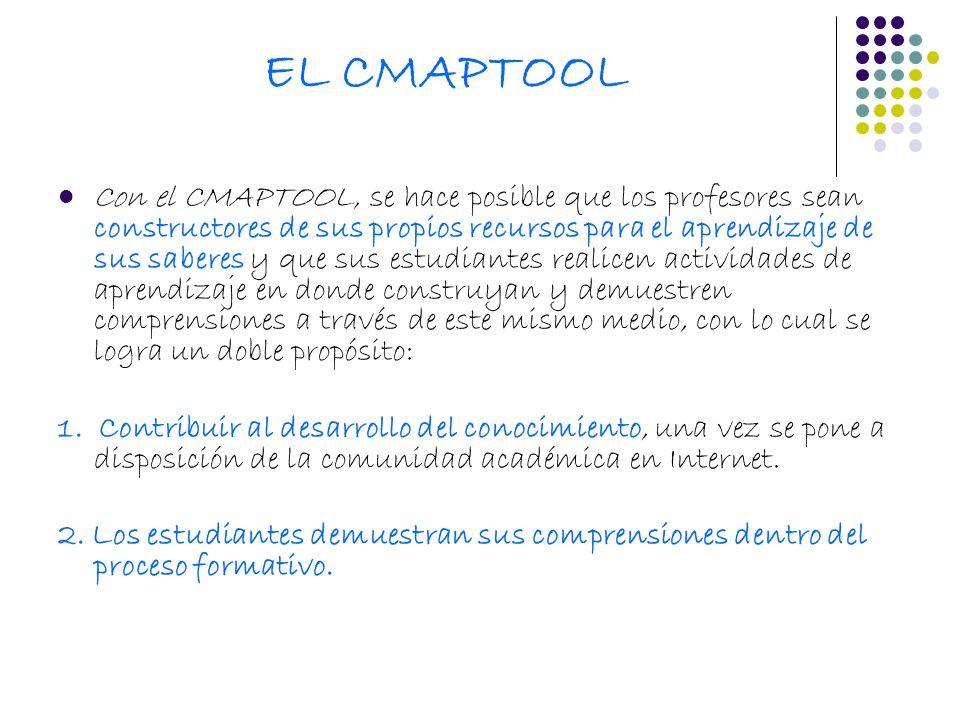 EL CMAPTOOL Con el CMAPTOOL, se hace posible que los profesores sean constructores de sus propios recursos para el aprendizaje de sus saberes y que su