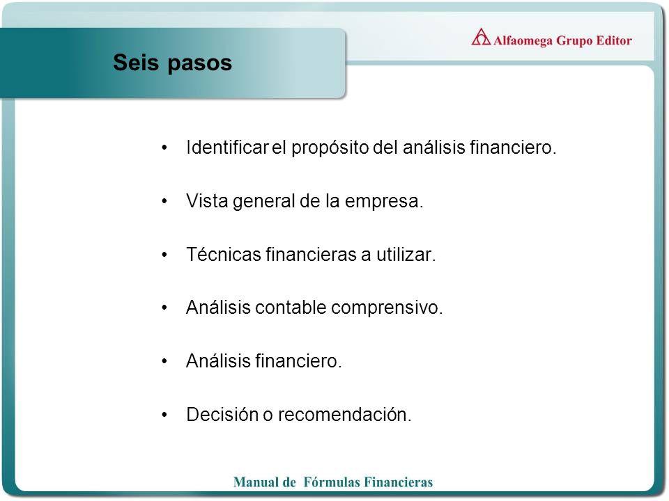 Seis pasos Identificar el propósito del análisis financiero. Vista general de la empresa. Técnicas financieras a utilizar. Análisis contable comprensi