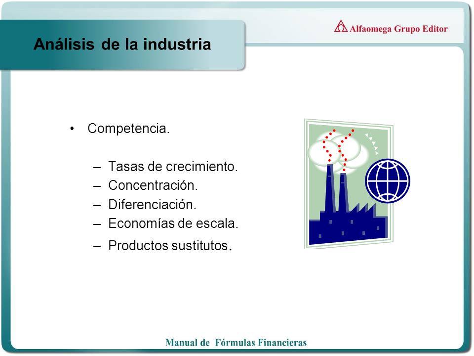 Análisis de la industria Competencia. –Tasas de crecimiento. –Concentración. –Diferenciación. –Economías de escala. –Productos sustitutos.