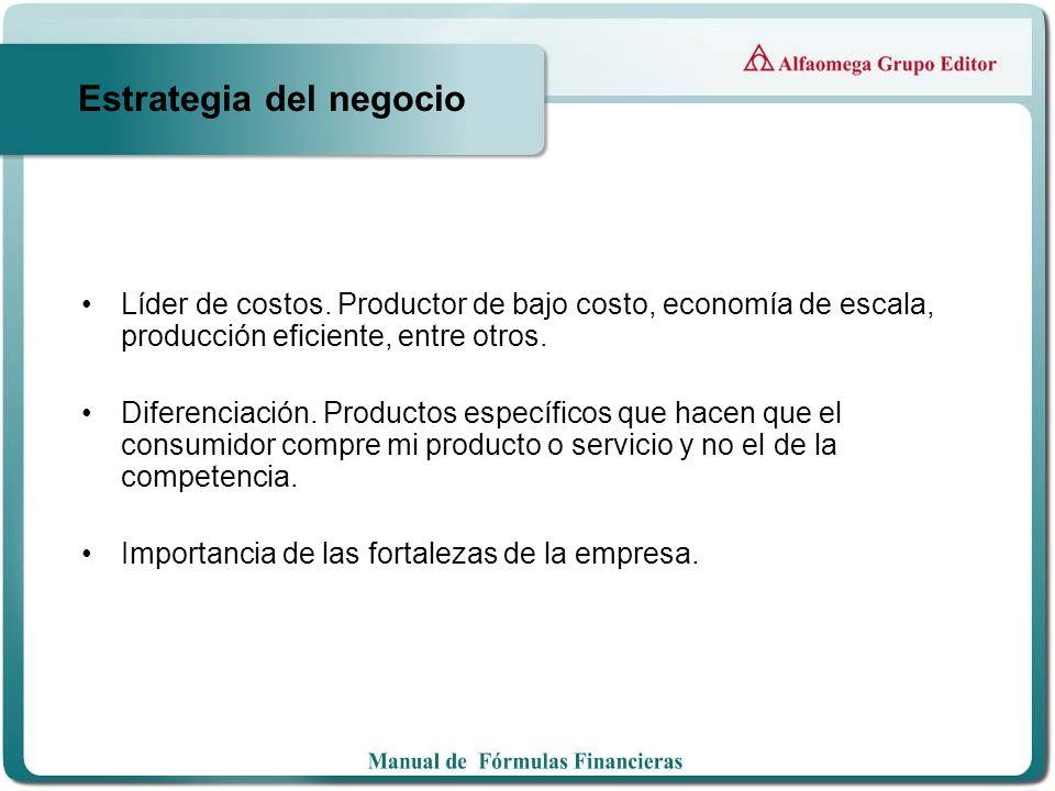 Estrategia del negocio Líder de costos. Productor de bajo costo, economía de escala, producción eficiente, entre otros. Diferenciación. Productos espe